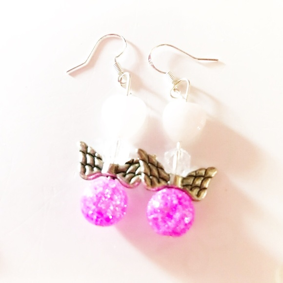 Pinkalicious Jewelry - Just in- Rose Quartz & Pink Glass Earrings  PCPP3